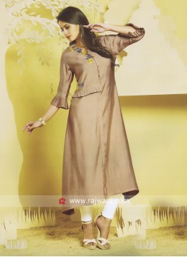 Butter Silk Kurti with Bell Sleeves