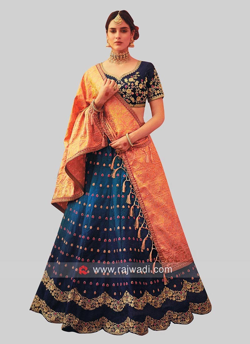 3597142cd6 Butter Silk Shaded Lehenga Set. Hover to zoom