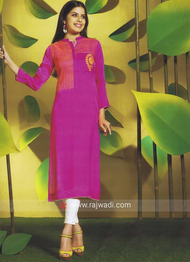 Butter Silk Thread Embroidered Kurti
