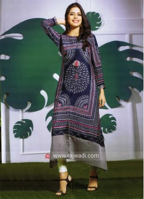 Butter Silk Trail Cut Printed Kurti
