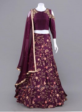 Butter Silk Wine Cold Shoulder Choli Suit