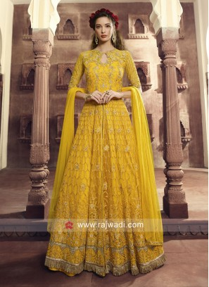 Butterfly Net Heavy Salwar Kameez in Yellow