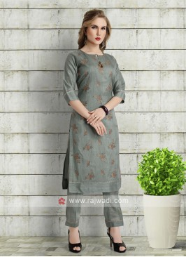 Cadet blue kurti with pant