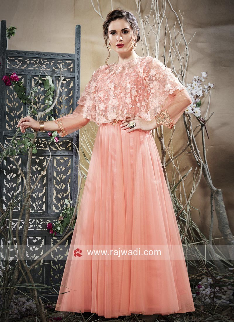 Cape Style Gown in Peach