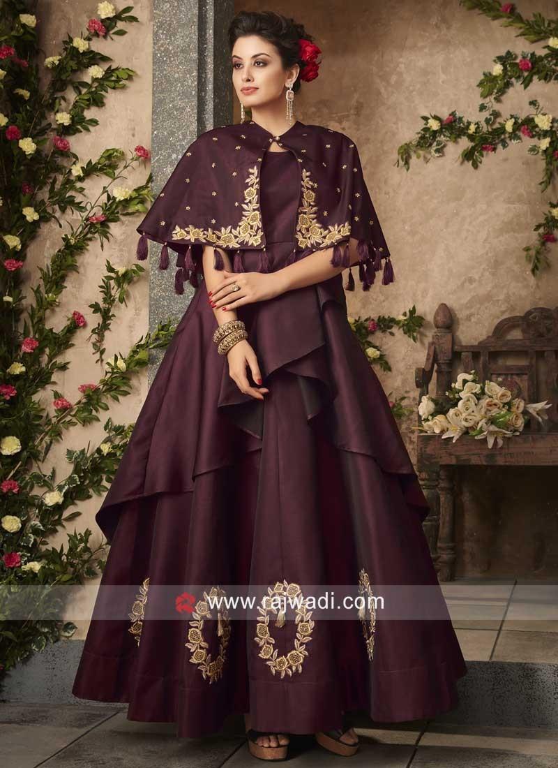 Cape Style Taffeta Gown