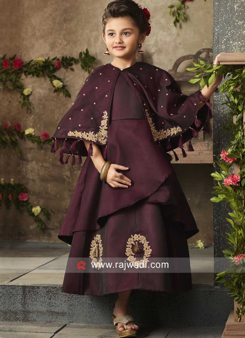 Cape Style Taffeta Gown for Girls