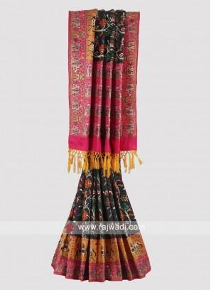 Carbon black and pink color dupion silk saree