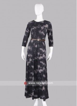 Carbon Black Printed Maxi Dress