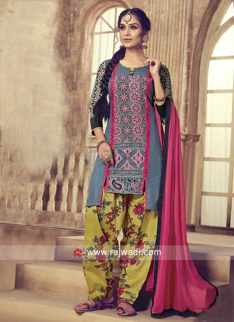 Casual Printed Patiala Suit with Dupatta