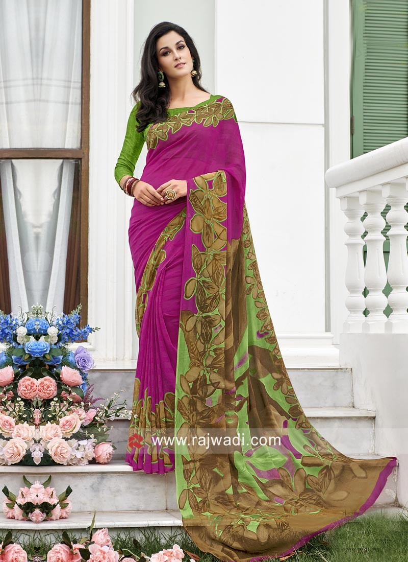 Casual Printed Saree with Blouse