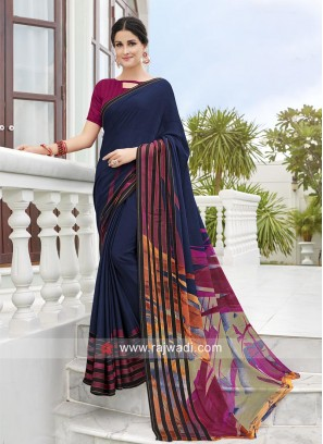 Casual Printed Saree with Contrast Blouse