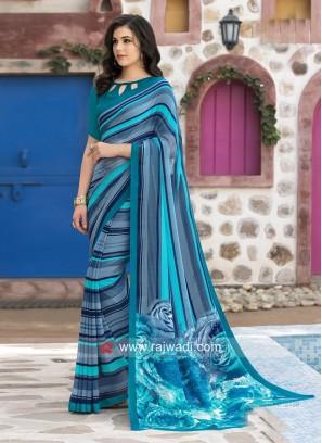 Casual Printed Saree with Piping Border