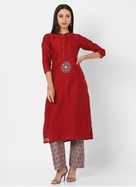 Casual Wear Kurti Set In Maroon And Grey Color