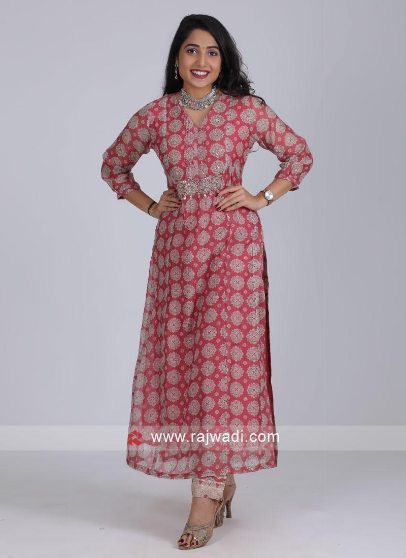 Casual Wear Pink Printed Kurti Set