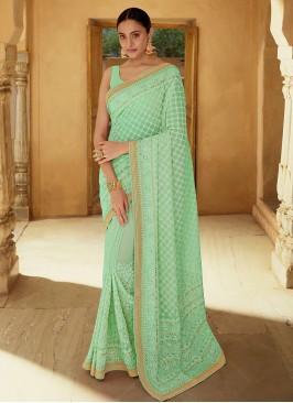 Catchy Georgette Mehndi Classic Designer Saree