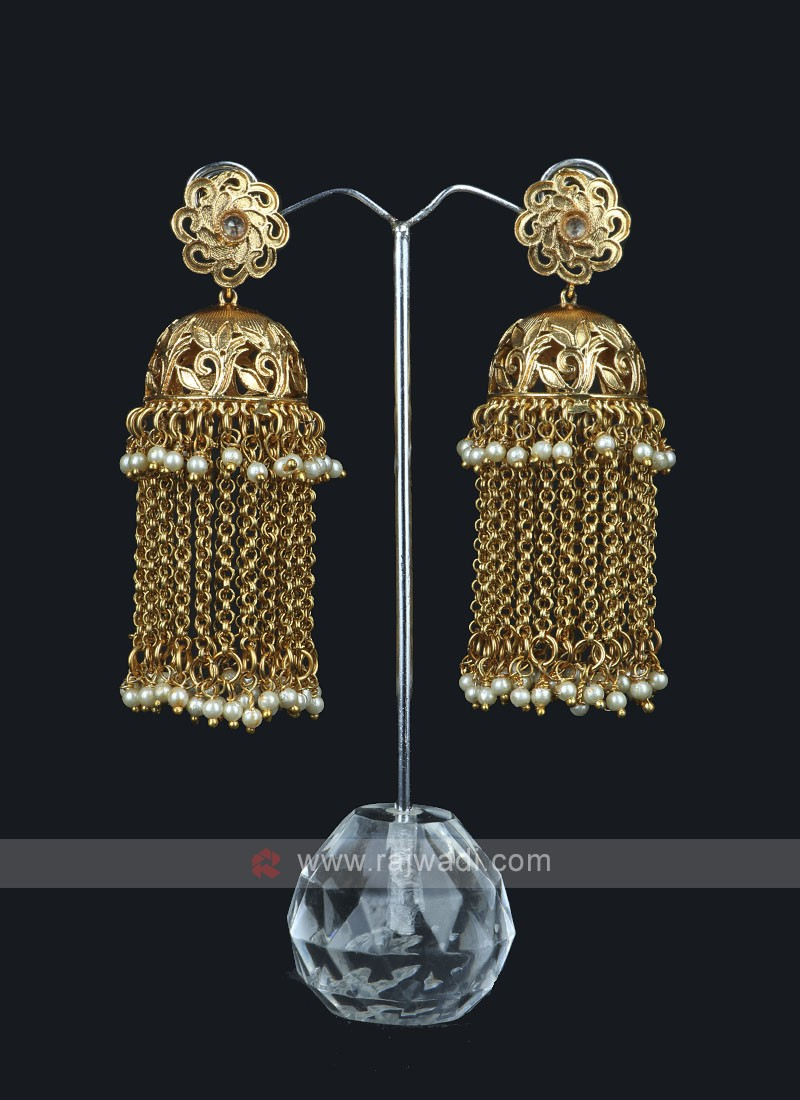 Chain Beaded Jumka Style Earring