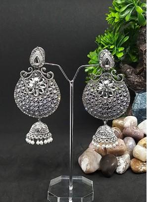 Chandbali Stone Work Jhumki Earrings