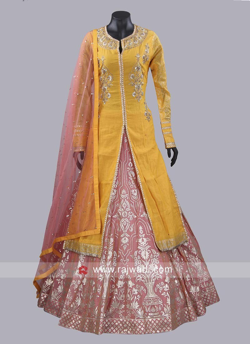 Chanderi Silk Lehenga with Long Choli and Dupatta