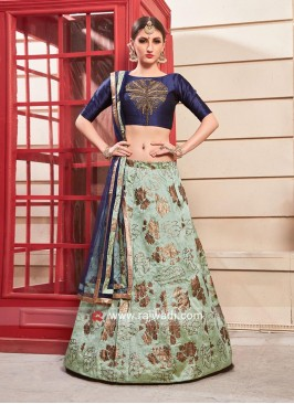 Light Green and Blue Fabulous Lehenga Choli