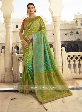 Banarasi Silk Embroidered Shaded Saree