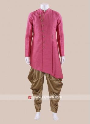 Charming Art Silk Fabric Mens Patiala Suit