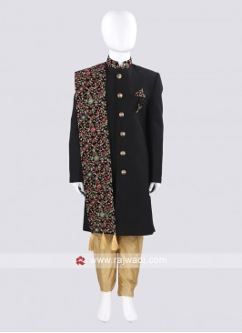 Charming Black Boys Indo Western with Dupatta