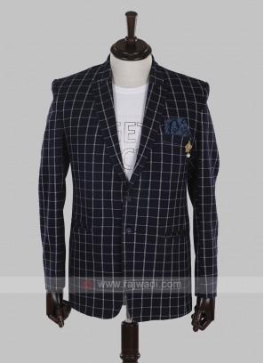 charming blue checks blazer