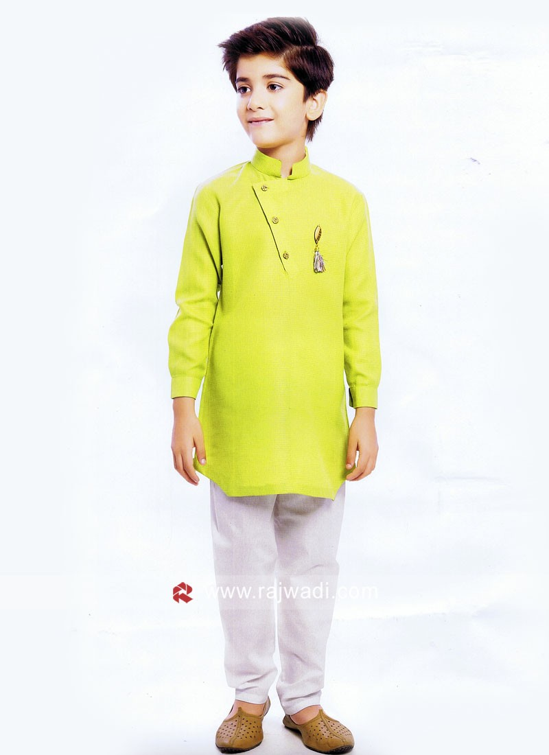 Charming Pista Green Kurta Set For Boys