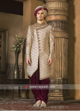 Charming Golden Color Sherwani