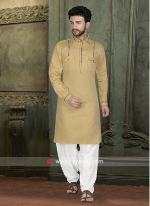 Charming Golden Cream Color Pathani Set