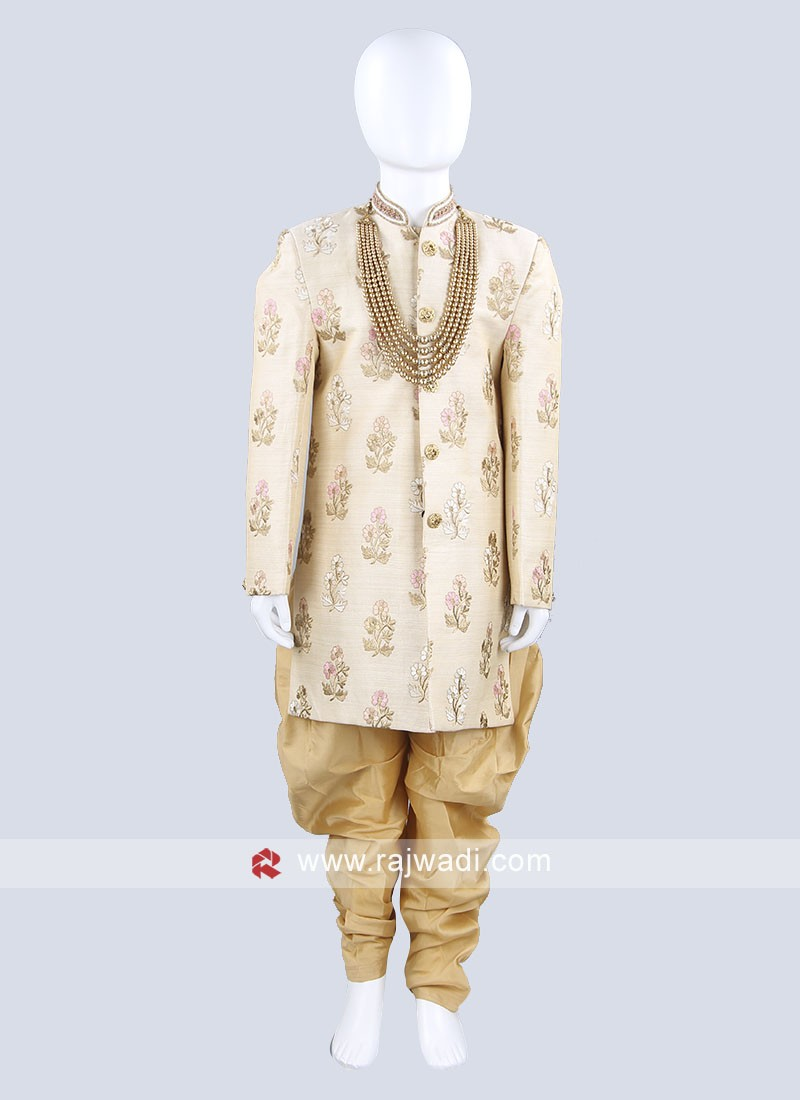 Charming Golden Cream Kids indo Western