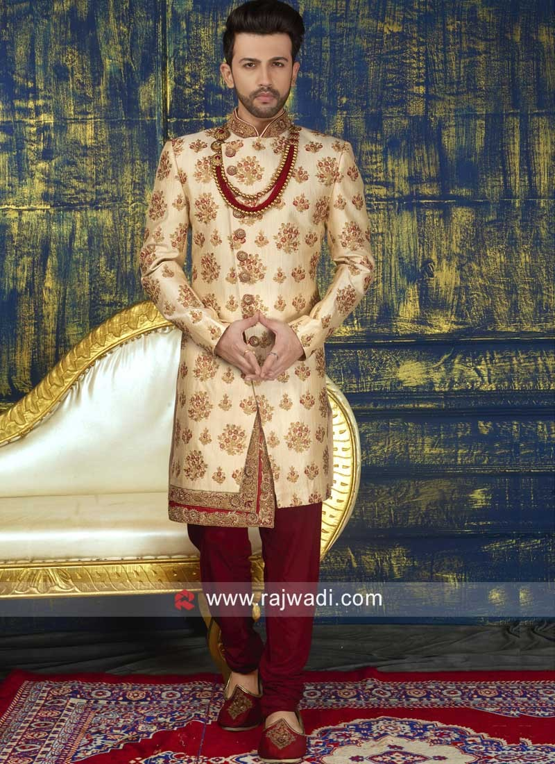 Charming Golden Indo Western with Fancy Buttons