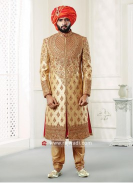 Charming Golden Sherwani For Men