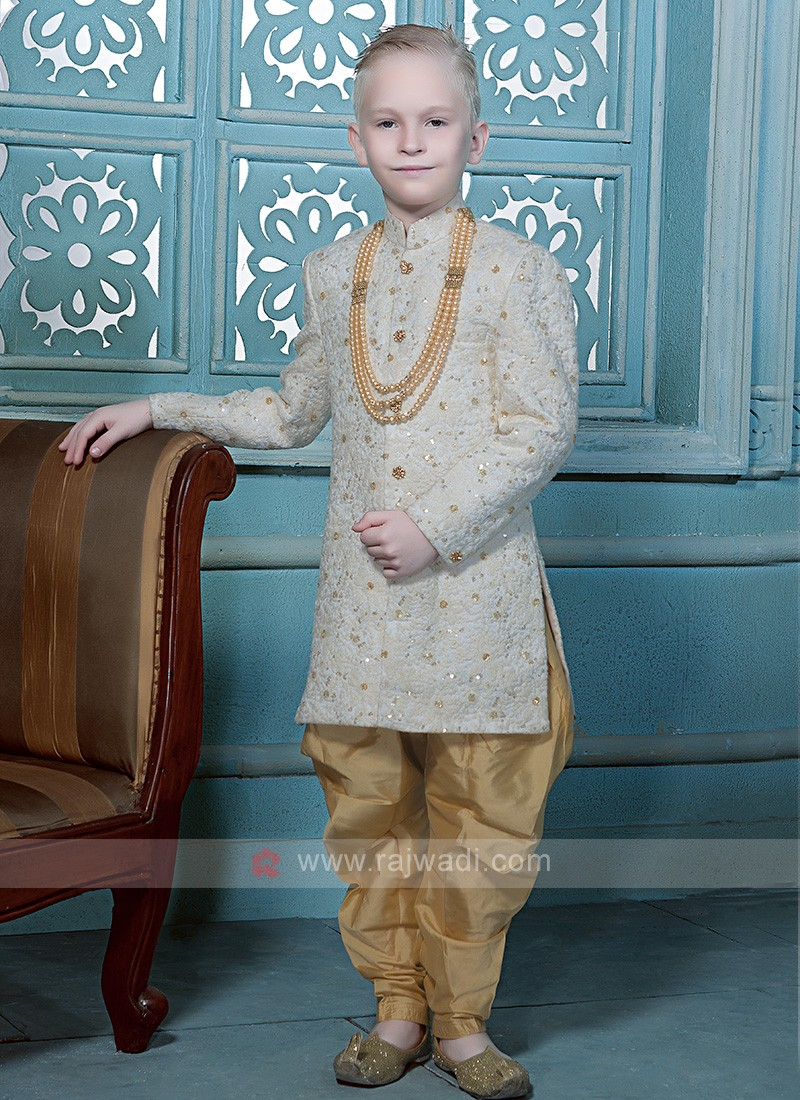 Charming Golden White Kids indo Western
