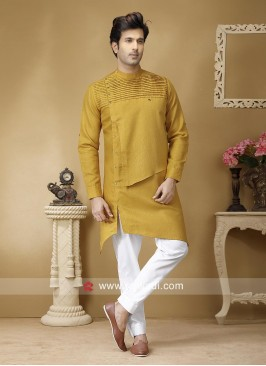 Charming Golden Yellow Pathani Suit