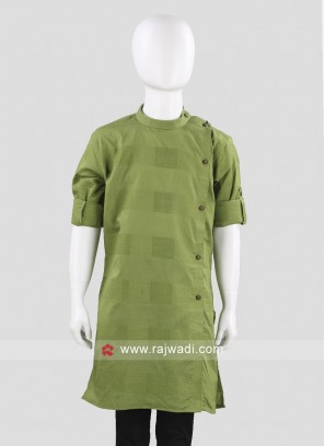 Charming Green Color Cotton  Kurta