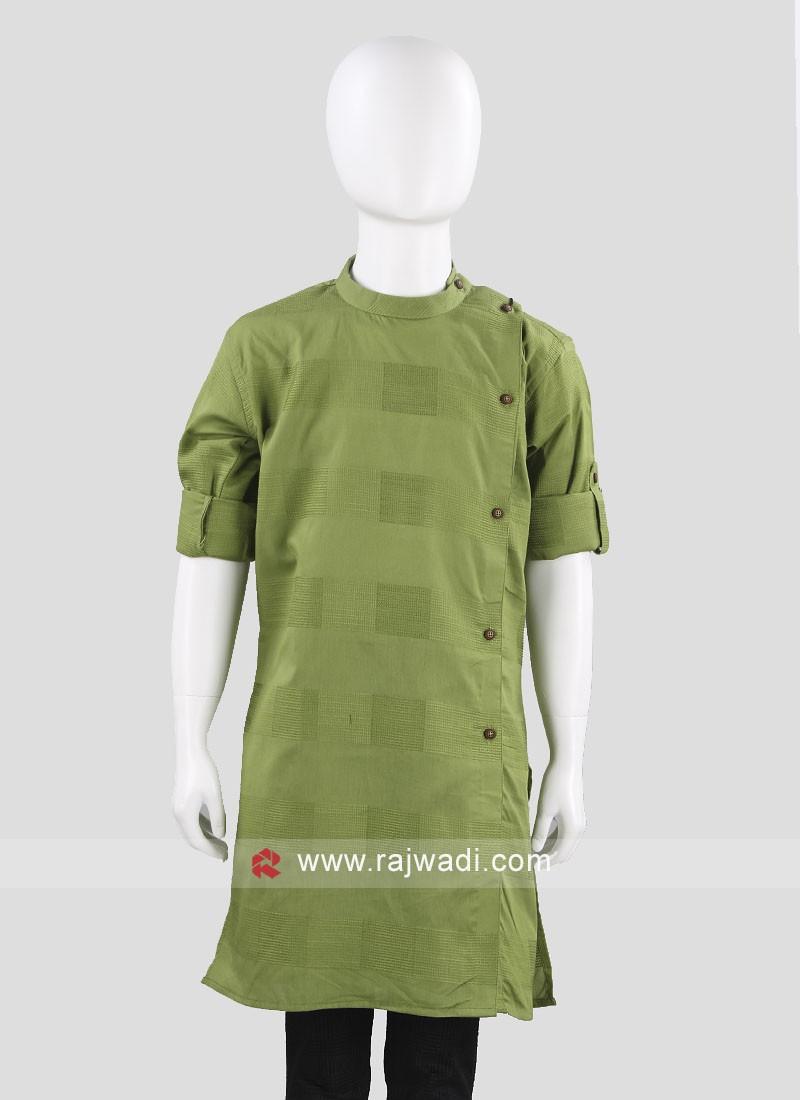 Charming Green Color Cotton  Kurta