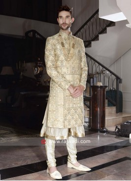 Groom Golden Cream Sherwani