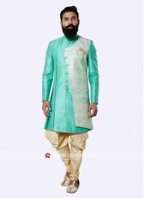 Charming Medium Turquoise Color Indo Western