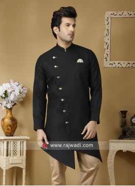Charming Linen Fabric Black Kurta