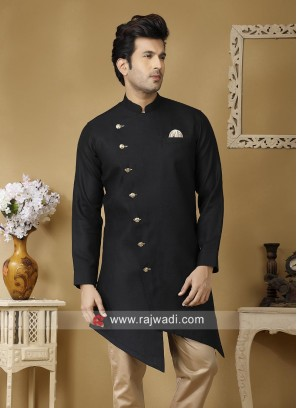 Charming Linen Fabric Black Kurta