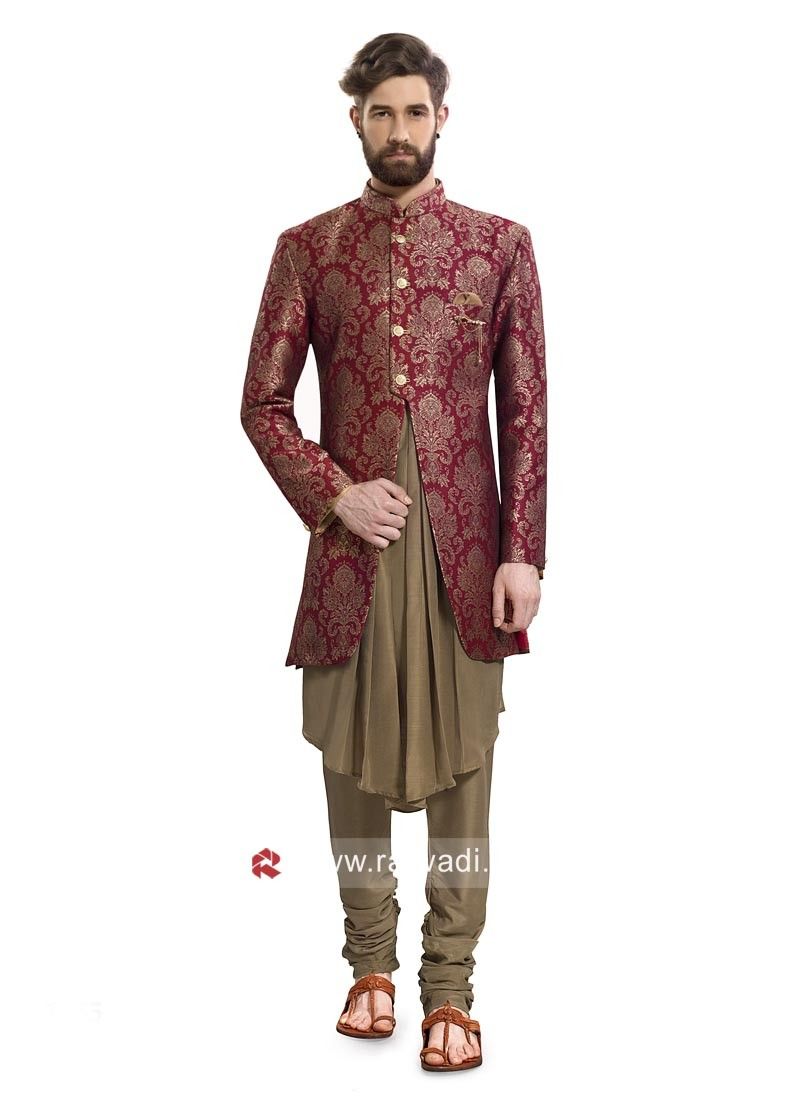 Charming Maroon Color Indo Western