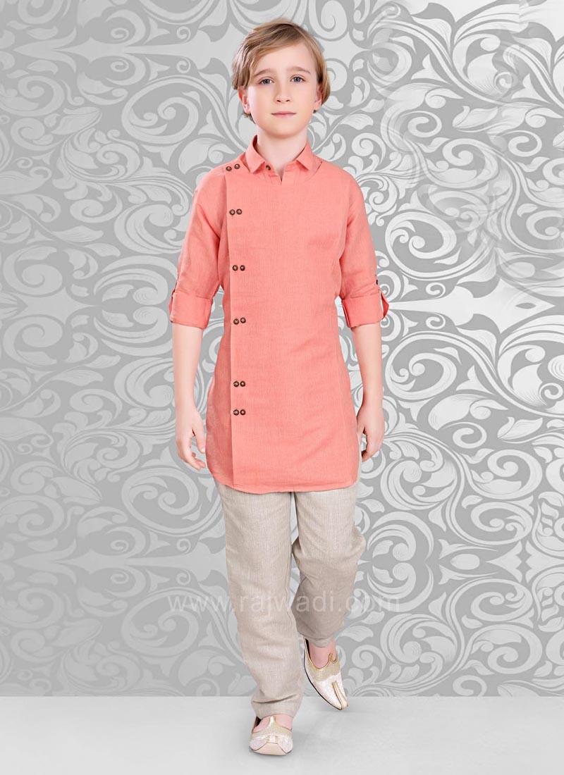 Charming Neon Coral Color Kurta Pajama