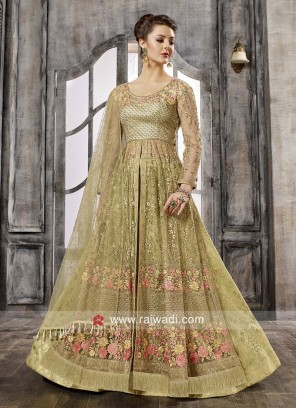 Pista Green Embroidered Salwar Kameez