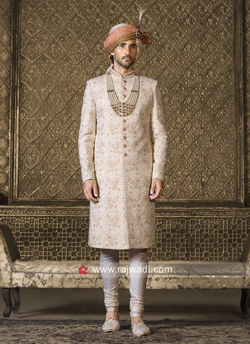 Charming Off White Color Sherwani