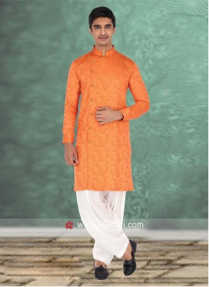Charming Orange Color Pathani Set