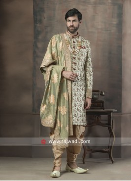 Charming Pista Green Sherwani With Dupatta