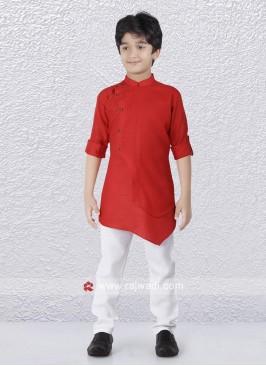 Charming Red Art Silk Kurta Set