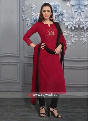 Charming Red Color Churidar Suit