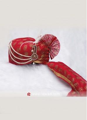 Charming Red Color Cotton Silk Safa